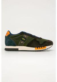 Zielone sneakersy Blauer z cholewką, z okrągłym noskiem