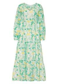Długa sukienka w kwiaty bonprix biel wełny - kryształowy miętowy w kwiaty. Kolor: biały. Materiał: wełna. Wzór: kwiaty. Długość: maxi