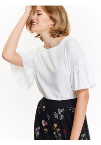 Biała bluzka TROLL z krótkim rękawem, krótka, z aplikacjami, na zimę #7