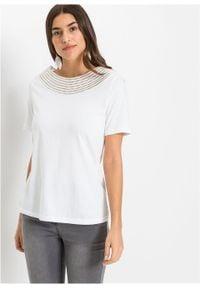 Shirt z ozdobnym dekoltem bonprix biały. Kolor: biały. Materiał: koronka. Długość rękawa: krótki rękaw. Długość: krótkie