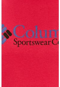 Różowy t-shirt columbia z nadrukiem, casualowy, z okrągłym kołnierzem, na co dzień