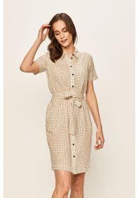 Kremowa sukienka Noisy may na co dzień, mini, prosta, z krótkim rękawem