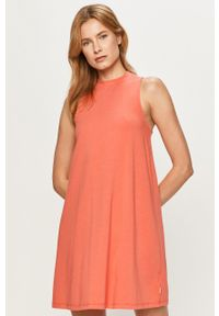 Pomarańczowa sukienka Vans z okrągłym kołnierzem, prosta, casualowa, mini