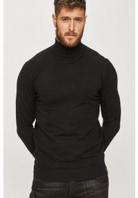 Czarny sweter Scotch & Soda z długim rękawem, długi, z golfem, casualowy