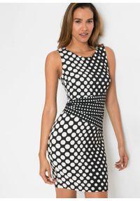 Sukienka ołówkowa bonprix czarno-biały w groszki. Okazja: na spotkanie biznesowe. Kolor: czarny. Wzór: grochy. Typ sukienki: ołówkowe. Styl: biznesowy