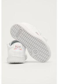 Białe buty sportowe na rzepy, z cholewką, Lacoste Carnaby Evo, z okrągłym noskiem