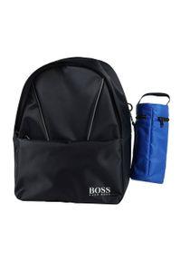 Niebieski plecak BOSS z nadrukiem