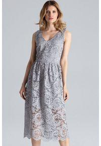 Szara sukienka koktajlowa Figl w koronkowe wzory, midi