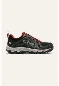 Czarne buty trekkingowe columbia z okrągłym noskiem, z cholewką