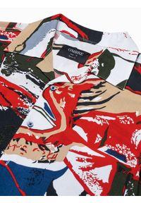 Ombre Clothing - Koszula męska z krótkim rękawem K574 - biała/czerwona - XL. Okazja: do pracy, na spotkanie biznesowe. Kolor: czerwony. Materiał: wiskoza. Długość rękawa: krótki rękaw. Długość: krótkie. Wzór: kolorowy. Sezon: lato. Styl: wakacyjny, biznesowy