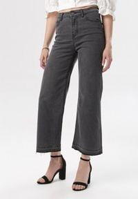 Born2be - Ciemnoszare Jeansy Nahlina. Stan: podwyższony. Kolor: szary. Materiał: jeans. Długość: długie