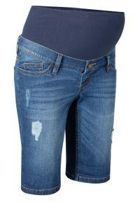 Bermudy dżinsowe ciążowe bonprix niebieski. Kolekcja: moda ciążowa. Kolor: niebieski