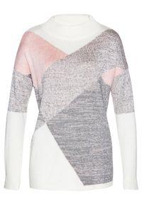Biały sweter bonprix melanż, ze stójką