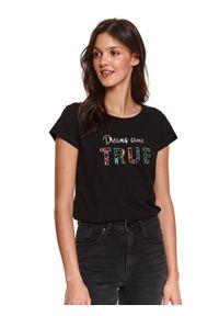 TOP SECRET - T-shirt z napisem. Kolor: czarny. Materiał: tkanina, bawełna. Długość rękawa: krótki rękaw. Długość: krótkie. Wzór: napisy. Sezon: wiosna