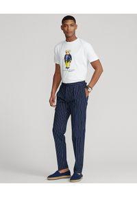 Ralph Lauren - RALPH LAUREN - Biała koszulka z misiem polo Custom Slim Fit. Typ kołnierza: polo. Kolor: biały. Materiał: bawełna. Wzór: nadruk
