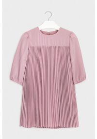Różowa sukienka Mayoral prosta, z długim rękawem