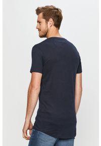 Niebieski t-shirt Tom Tailor Denim z nadrukiem, z okrągłym kołnierzem