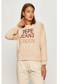 Beżowa bluza Pepe Jeans długa, bez kaptura, z nadrukiem