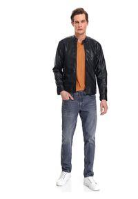 TOP SECRET - Spodnie denim slim fit. Okazja: do pracy. Kolor: szary. Materiał: denim. Długość: długie. Sezon: jesień. Styl: elegancki, klasyczny