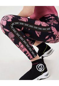 Czarne legginsy Liu Jo w kwiaty, sportowe