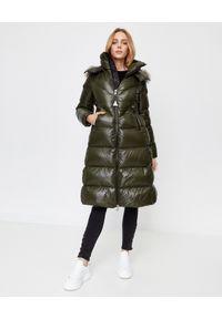 Zielony płaszcz MONCLER z aplikacjami, na zimę, długi, z długim rękawem