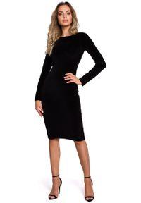 MOE - Czarna Klasyczna Ołówkowa Sukienka Welurowa. Kolor: czarny. Materiał: welur. Typ sukienki: ołówkowe. Styl: klasyczny