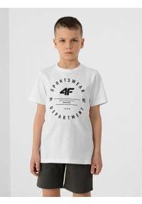 4f - T-shirt chłopięcy (122-164). Kolor: biały. Materiał: bawełna, dzianina