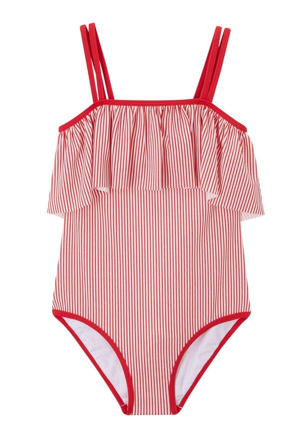 Kostium kąpielowy dziewczęcy bonprix czerwono-biały w paski. Kolor: czerwony. Wzór: paski