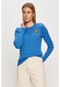 Lauren Ralph Lauren - Sweter. Okazja: na co dzień. Kolor: niebieski. Długość rękawa: długi rękaw. Długość: długie. Wzór: ze splotem. Styl: casual