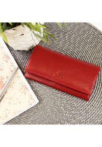 Krenig - Skórzany portfel damski KRENIG Classic 12091 czerwony. Kolor: czerwony. Materiał: skóra