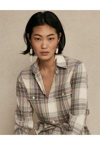 Ralph Lauren - RALPH LAUREN - Sukienka w kratę z paskiem. Typ kołnierza: polo. Kolor: beżowy. Materiał: materiał, bawełna. Długość rękawa: długi rękaw. Sezon: jesień. Typ sukienki: koszulowe #2