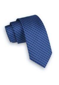 Alties - Niebieski Klasyczny Męski Krawat -ALTIES- 6cm, w Kratkę, Karo. Kolor: niebieski. Materiał: tkanina. Wzór: kratka. Styl: klasyczny