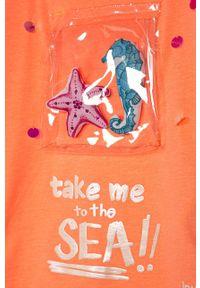 Pomarańczowa bluzka z krótkim rękawem Desigual z aplikacjami, na co dzień