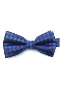 Niebieska muszka Vernon elegancka, w kratkę