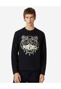 Kenzo - KENZO - Czarna bluza z kontrastowym tygrysem. Kolor: czarny. Materiał: bawełna. Długość rękawa: długi rękaw. Długość: długie. Wzór: haft. Styl: klasyczny