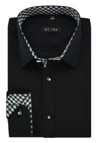 Czarna elegancka koszula Desire z długim rękawem, długa
