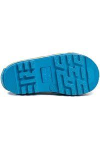Niebieskie kalosze Playshoes z aplikacjami, z cholewką, klasyczne