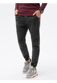 Ombre Clothing - Spodnie męskie jeansowe joggery P1027 - czarne - XXL. Kolor: czarny. Materiał: jeans. Styl: klasyczny