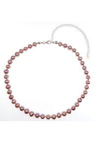 Zerin - ZELDA Naszyjnik różowe naturalne perły 3w1 obroża chocker kolia regulowany. Materiał: srebrne. Kolor: różowy. Wzór: aplikacja. Kamień szlachetny: perła