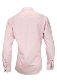 Różowa elegancka koszula Rey Jay z długim rękawem, w paski