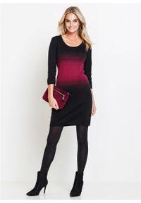 Sukienka dzianinowa bonprix czarno-jeżynowy. Kolor: czarny. Materiał: dzianina. Wzór: aplikacja. Typ sukienki: dopasowane. Styl: elegancki