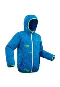 WEDZE - Kurtka narciarska dla dzieci Wedze REVERSE 100 WARM. Kolor: niebieski. Materiał: materiał. Wzór: nadruk. Sport: narciarstwo