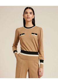 Luisa Spagnoli - LUISA SPAGNOLI - Jasnobrązowy sweter z wełny MILO. Kolor: beżowy. Materiał: wełna