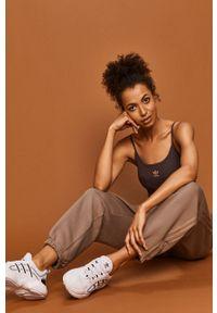 Fioletowy top adidas Originals na co dzień, na ramiączkach, z aplikacjami, casualowy