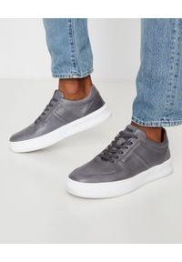 TOD'S - Szare skórzane sneakersy. Nosek buta: okrągły. Kolor: szary. Materiał: skóra