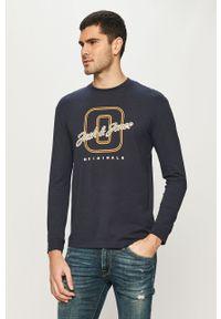 Niebieska koszulka z długim rękawem Jack & Jones casualowa, na co dzień, z nadrukiem
