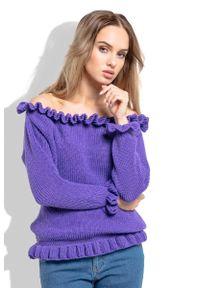 Fioletowy sweter Fobya z kołnierzem typu carmen