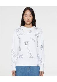 GOLDEN GOOSE - Biała bluza z graficznymi nadrukami Athena. Kolor: biały. Materiał: bawełna. Długość rękawa: długi rękaw. Długość: długie. Wzór: nadruk. Styl: klasyczny