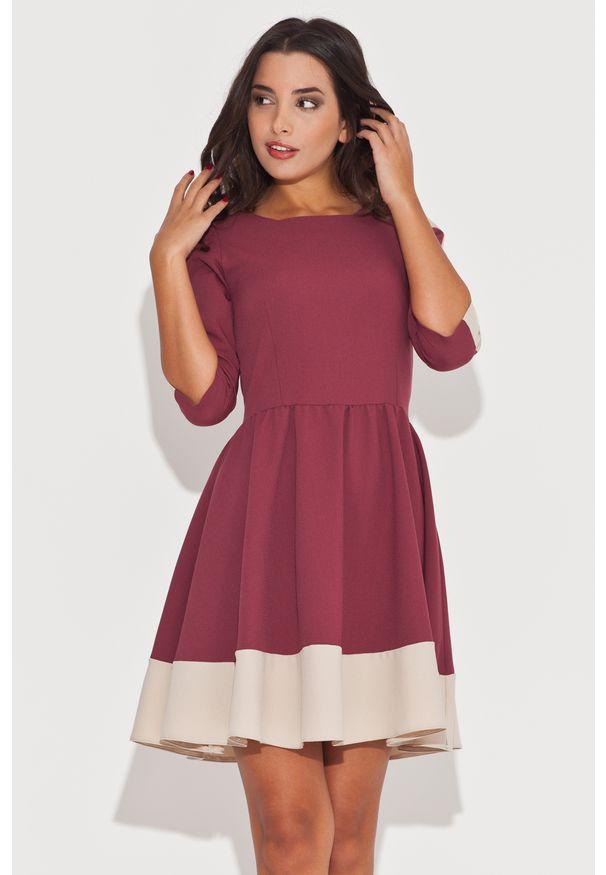 Czerwona sukienka Katrus w kolorowe wzory, elegancka