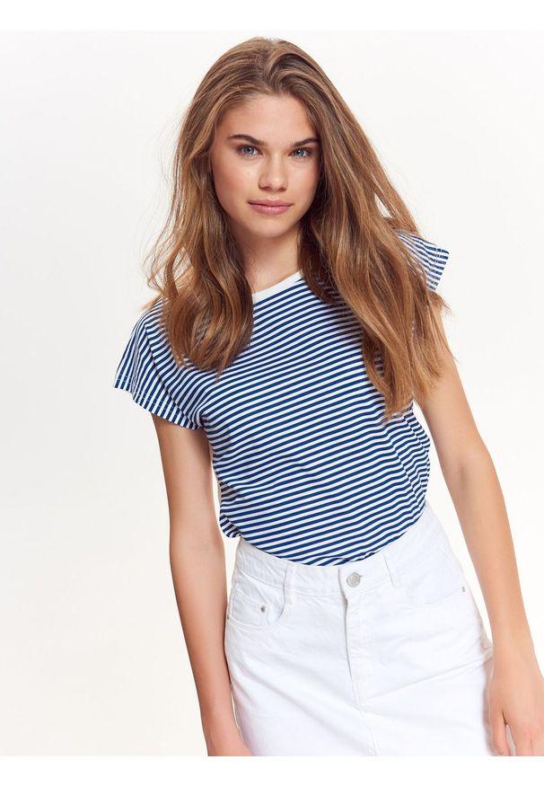 Niebieski t-shirt TROLL na co dzień, krótki